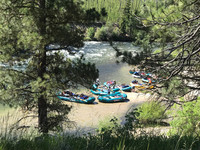 After a lunch stop, guests and guides ready to push into the rapids on Idaho's Salmon River. Photo courtesy of Nicola Bridges.