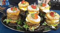 One of the many unusual entries at the 2018 World Food Championships in Orange Beach, Alabama, was a sweet bacon-and-egg burger. Photo courtesy of Victor Block.