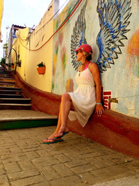 The steps to Playa La Madera in Zihuatanejo, Mexico, feature one of several angel-wing murals. Photo courtesy of Nicola Bridges.