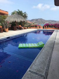 The private pools at Casa Quixote in Zihuatanejo, Mexico, offer views of Zihuatanejo Bay. Photo courtesy of Nicola Bridges.