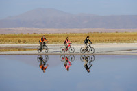 Bicyclists ride in Chile's Atacama Desert. Photo courtesy of Explora Atacama.