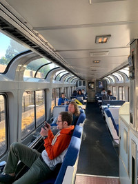 A favorite relaxing hangout on the Coast Starlight is the observation car. Photo courtesy of Sharon Whitley Larsen.