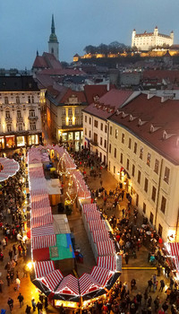 The Christmas market in Bratislava, Slovakia, is one of the benefits of a winter cruise on the Danube River. Photo courtesy of Phil Allen.