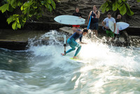 The English Garden Park in Munich, Germany, is home to the fast-moving Eisbach River, where surfers test their skills. Photo courtesy of Halina Kubalski
