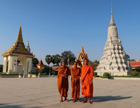 Buddhist monks greet visitors at the Royal Palace in Phnom Penh, Cambodia. Photo courtesy of Doug Hansen.