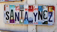 An art piece made with old license plates celebrates the Santa Ynez Valley in Southern California. Photo courtesy of Jim Farber.