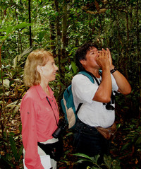 An Amazonia guide named Souza shows the author how to make birdcalls. Photo courtesy of Victor Block.