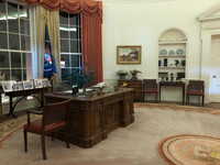 The Oval Office at the Ronald Reagan Presidential Library in Simi Valley, California, looks exactly as the real one did at the White House. Photo courtesy of Kitty Morse.