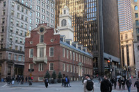 The Declaration of Independence was first read from a balcony at the Old State House, now a museum, in Boston. Photo courtesy of Barbara Selwitz.