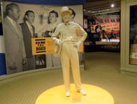 A statue of Earl Scruggs at the Earl Scruggs Center in Selby, North Carolina, looks as if it were sculpted from butter. Photo courtesy of Steve Bergsman.