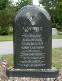 """Alan Freed, the disc jockey who coined the term """"rock 'n' roll,"""" is buried at Lakeview Cemetery in Cleveland, Ohio. Photo courtesy of Steve Bergsman."""