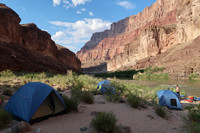 Grand Canyon rafters set up camp along the Colorado River while being careful not to harm the environment. Photo courtesy of Doug Hansen.