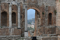 The Greek Theater constructed in the third century B.C. is a highlight of a trip to Taormina, Sicily, Italy. Photo courtesy of Candyce H. Stapen.