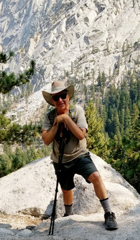 The author reaches his goal of climbing to Cottonwood Lake in California's Sierra Madre Mountains near Lone Pine. Photo courtesy of Jim Farber.