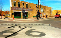"""A corner in Winslow, Arizona, became famous when it was mentioned by the Eagles in """"Take It Easy."""" Photo courtesy of Jim Farber."""