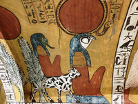 The colors in the burial tombs in Egypt's Valley of the Kings and Valley of the Queens have been naturally preserved because no light has been able to reach them. Photo courtesy of Phil Allen.