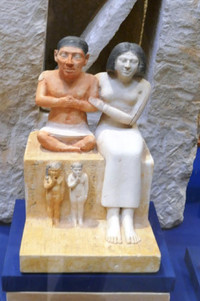 """The """"Man and Woman"""" sculpture resides in the Egyptian Museum in Cairo. Photo courtesy of Phil Allen."""