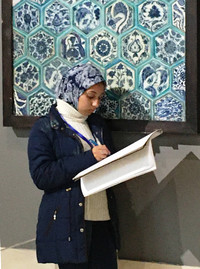 A student works in the Museum of Islamic Art in Cairo, Egypt. Photo courtesy of Phil Allen.