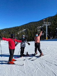 New skiers have a lesson at the Sierra-at-Tahoe Resort at Lake Tahoe, California. Photo courtesy of Margot Black.