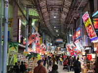 Shoppers explore the busy market in Naha, Okinawa, Japan. Photo courtesy of Philip Courter.