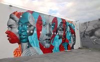 This colorful mural and others draw visitors to the Wynwood Walls in Miami, Florida. Photo courtesy of Wynwood Walls.