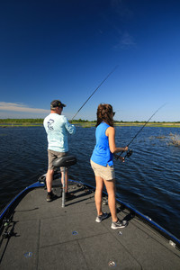 A couple enjoy fishing in Lake Charles, Louisiana. Photo courtesy of Justin Hoffman Outdoors/Dreamstime.com.
