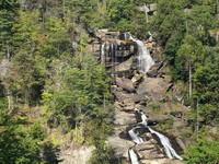 Whitewater Falls on the border of North Carolina and South Carolina in the Blue Ridge Mountains can be conveniently reached by way of a wooden staircase. Photo courtesy of Bill Neely.