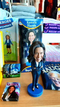 A bobble-head doll of Vice President Kamala Harris was recently among the few gifts for sale at the usually busy Los Angeles International Airport. Photo courtesy of Jim Farber.