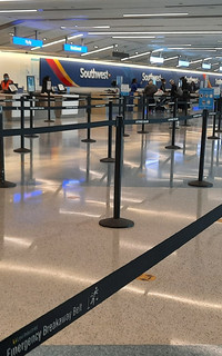 The ticket counter at Southwest Airlines in a terminal at Los Angeles International Airport was recently eerily quiet. Photo courtesy of Jim Farber.
