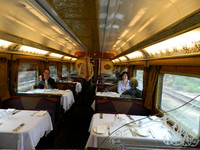 . Passengers on the Indian Pacific's Christmas Train dine on gourmet food in elegant surroundings. Photo courtesy of John Blanchette.