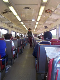 A cowboy chats with passengers on the Grand Canyon Railway. Photo courtesy of Maura Daly Phinney.