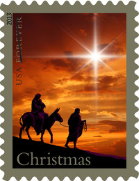 The 2013 holiday postal stamp features an allegorical image of Joseph, Mary and Baby Jesus under the Star of Bethlehem.
