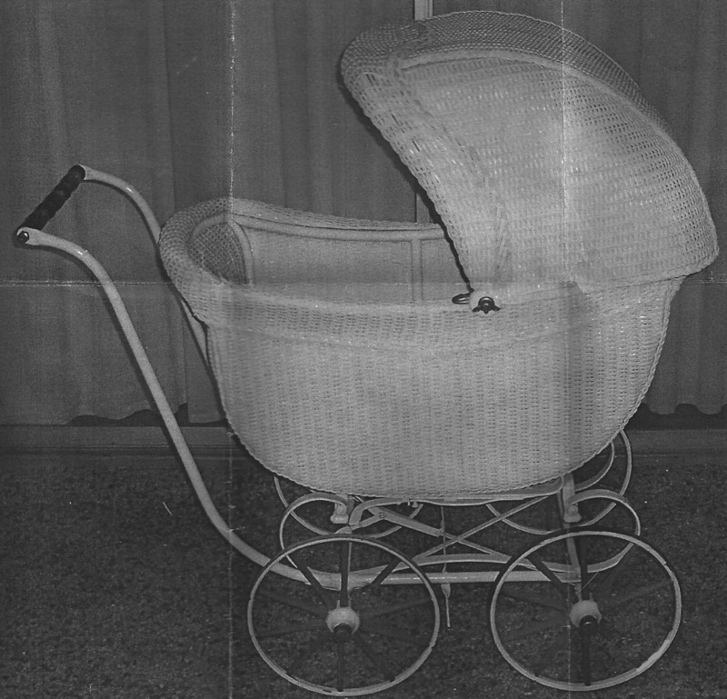 wicker baby carriage is vintage 1920 by anne mccollam creators