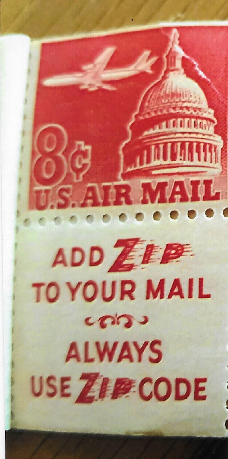 1962 US Airmail Stamp Featured A Plane And The Capitol Building