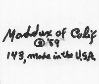 Maddux of California made pottery from 1938 to 1980.