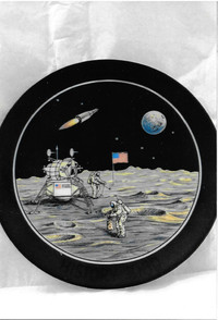 Porcelain plate commemorated first moon landing.