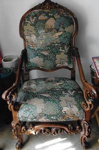 Ornate chair was made around 1920.