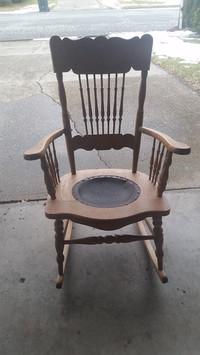 Golden oak furniture is circa 1900.