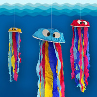Paper bowls help create a colorful jellyfish craft project.