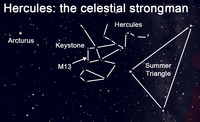 View the celestial strongman, Hercules, and the Great Globular Cluster.