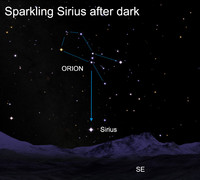 Sirius appears as a colorful celestial sparkler.