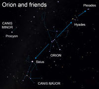 </p> <p>Stargazers from the Earth's Northern Hemisphere can easily find the burly celestial hunter Orion.