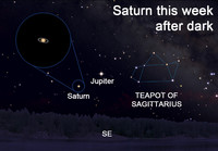 As you gaze at Saturn, keep in mind that it's a world made almost entirely of gasses with a diameter about 9.5 times greater than the Earth's.