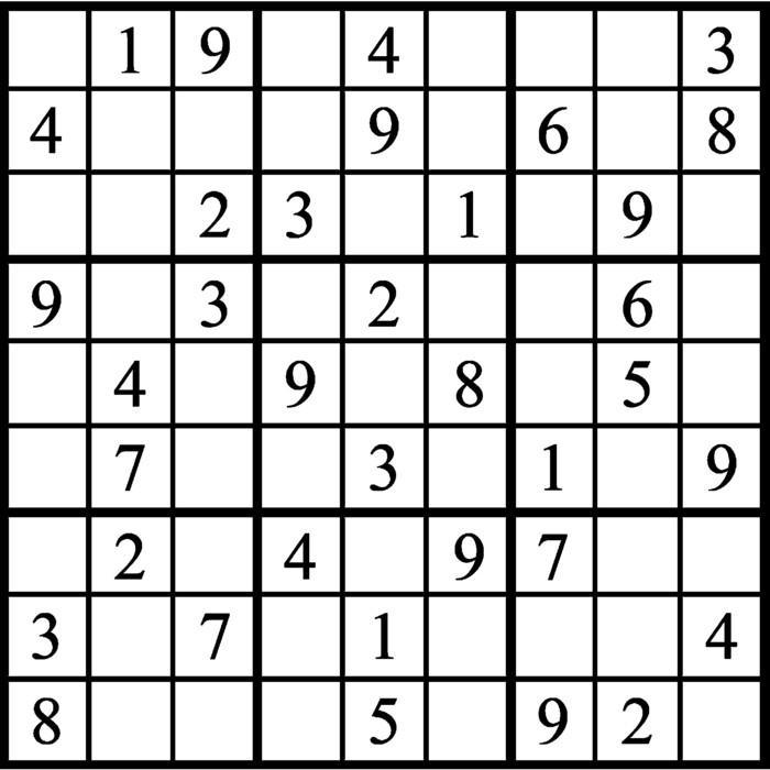 Janric Classic Sudoku for Sep 10, 2018