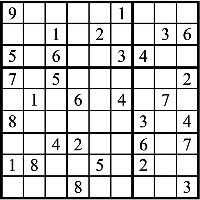 Janric Classic Sudoku for Jan 22, 2019