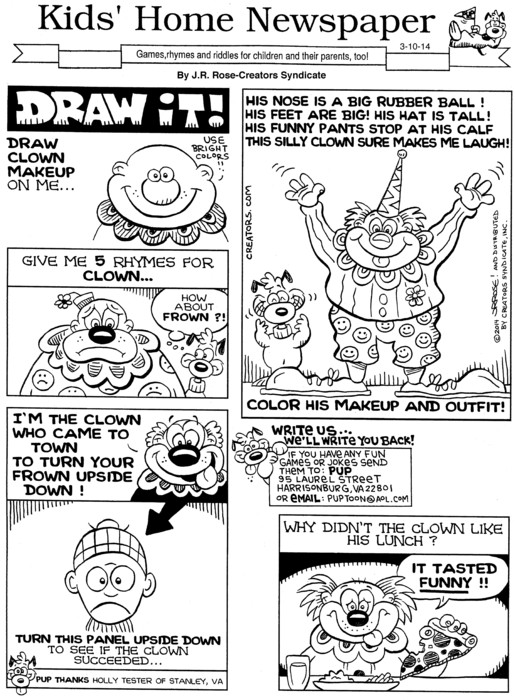Kids' Home Newspaper for Mar 10, 2014, by   Creators Syndicate