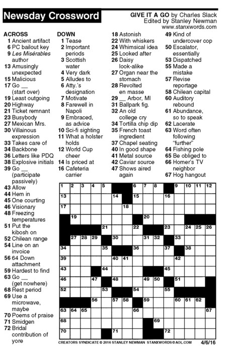Newsday Crossword Puzzle for Apr 06 2016  sc 1 st  Creators Syndicate & Newsday Crossword Puzzle for Apr 06 2016 by Stanley Newman ... 25forcollege.com