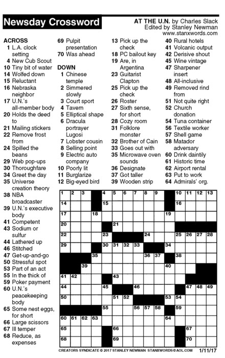 Newsday Crossword Puzzle for Jan 11, 2017