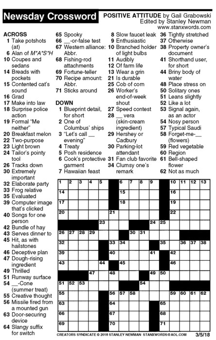 Newsday Crossword Puzzle for Mar 05, 2018