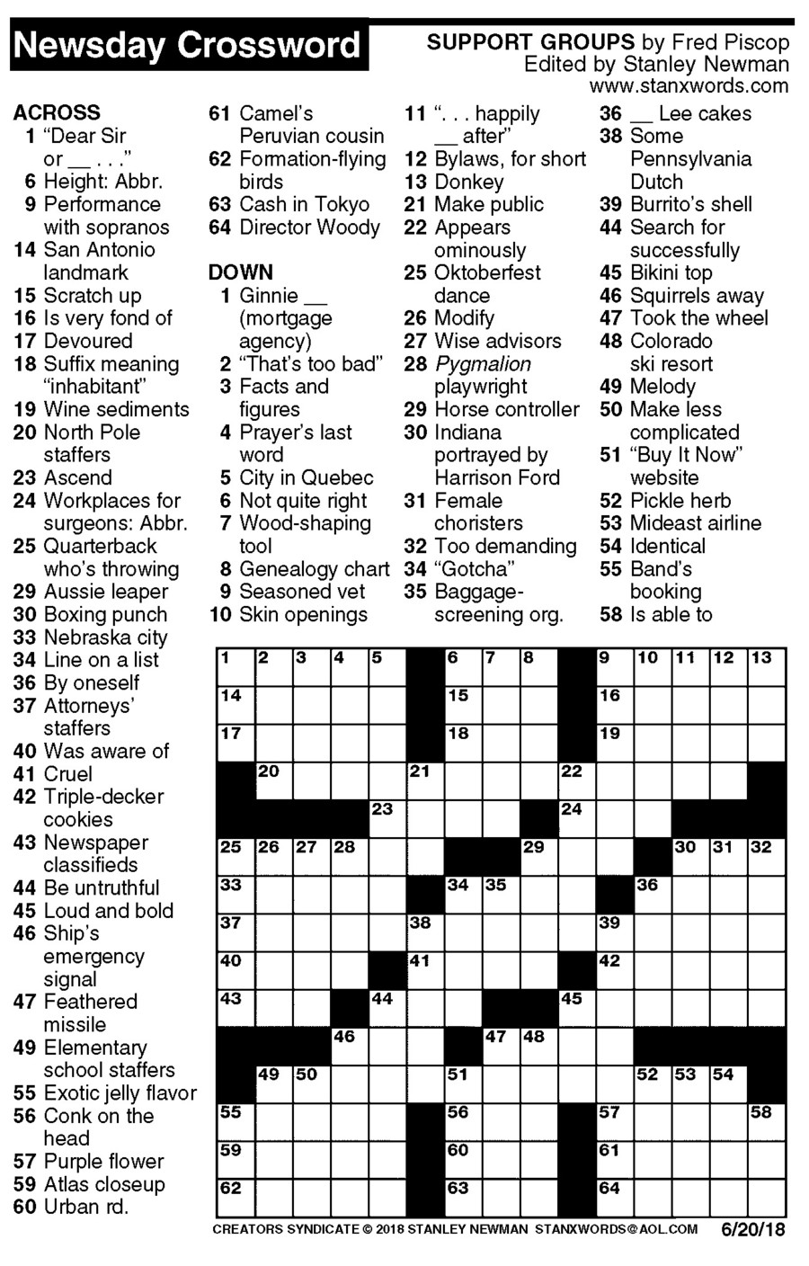 Newsday Crossword Puzzle for Jun 20, 2018